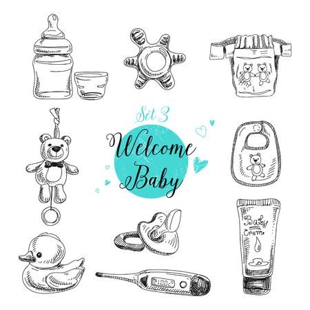 Illustration pour Vector set of highly detailed hand drawn baby stuff. Vintage signs collection. - image libre de droit