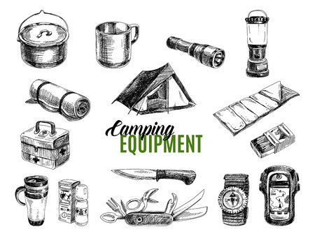 Illustration pour Vector set of highly detailed hand drawn camping stuff. Vintage signs collection. - image libre de droit