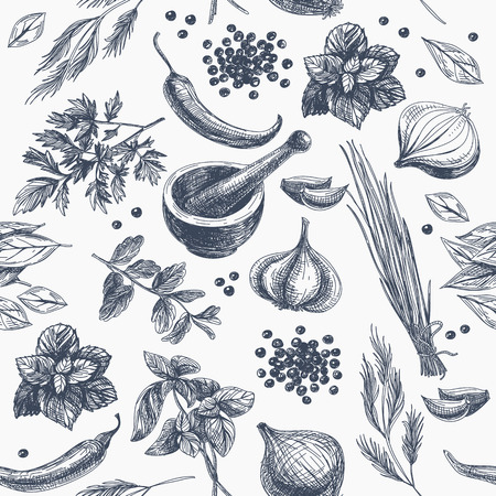 Ilustración de Vector seamless pattern with herbs and spices. Modern stylish texture. Repeating abstract background. - Imagen libre de derechos