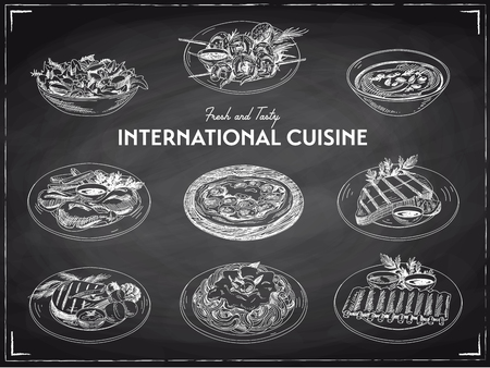 Ilustración de Vector hand drawn sketch international cuisine set. Restaurant food. Retro illustration. Chalkboard. - Imagen libre de derechos