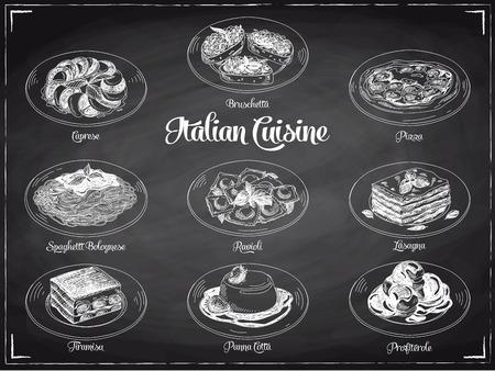 Illustration pour Vector hand drawn illustration with italian food. Sketch. Chalkboard. - image libre de droit
