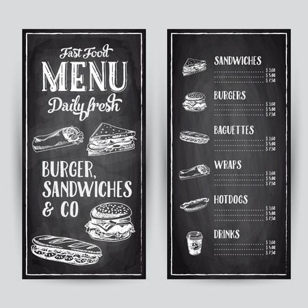 Ilustración de Vector hand drawn illustration with fast food. Restaurant menu. Chalkboard. Sketch. - Imagen libre de derechos