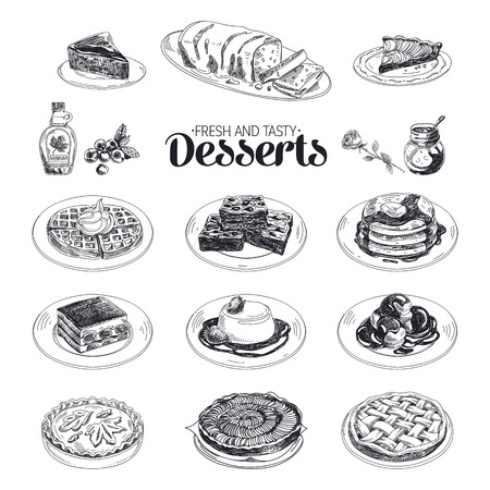 Illustration pour Vector hand drawn sketch restaurant desserts set. Sweets. Retro illustration. - image libre de droit