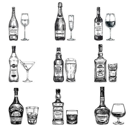 Ilustración de Vector hand drawn illustration with alcoholic drinks. Sketch. - Imagen libre de derechos