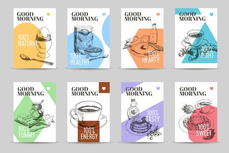 Ilustración de Vector hand drawn sketch breakfast banners set. Eco foods. Vector illustration. Cornflakes,Waffles, Cafe, croissant, bread. - Imagen libre de derechos