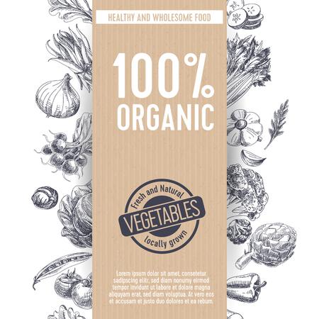 Ilustración de Vector hand drawn farm market Illustration. Vintage style. Retro organic food background. Locally grown sketch - Imagen libre de derechos