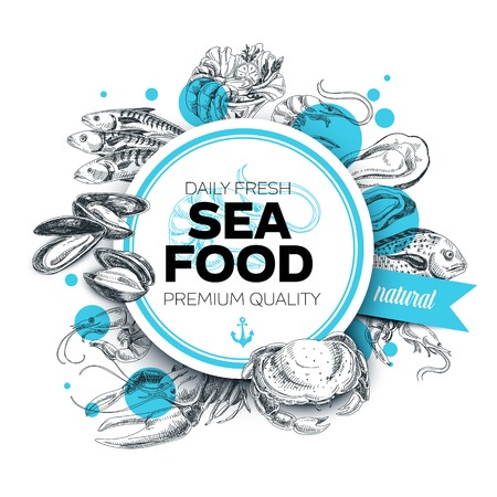 Ilustración de Vector hand drawn sea food Illustration. Vintage style. Retro food background. Sketch - Imagen libre de derechos
