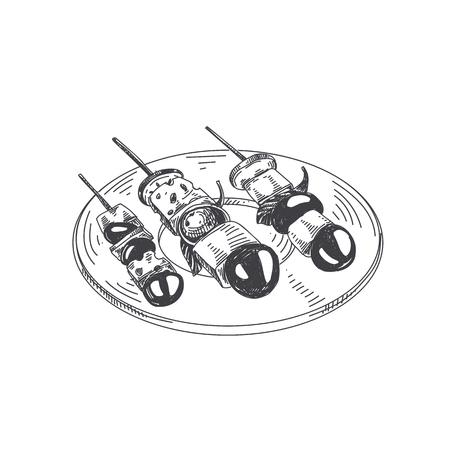 Illustration for Beautiful vector hand drawn finger food Illustration. Serving plate with canape in Detailed vintage style images. - Royalty Free Image
