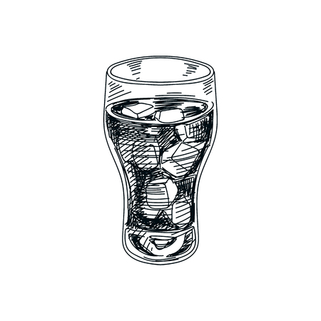 Ilustración de Beautiful vector hand drawn beverage Illustration.  Detailed retro style soft drink image. Vintage sketch Element for labels design. - Imagen libre de derechos