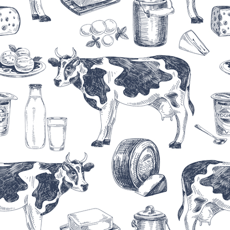 Illustration for Beautiful vector hand drawn dairy products  seamless pattern. Detailed retro style images. Vintage sketch repeated background. Seamless pattern. Elements collection for design. - Royalty Free Image