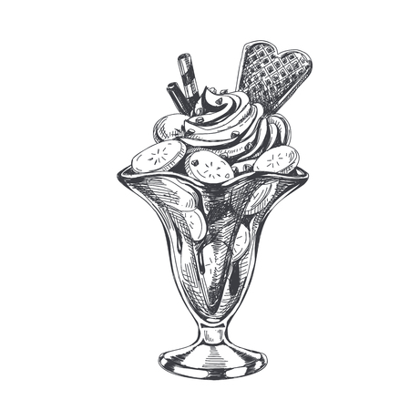 Ilustración de Beautiful vector hand drawn banana ice cream with whipped cream Illustration. Detailed retro style image. Vintage sketch element for labels, packaging and cards design. Modern background. - Imagen libre de derechos
