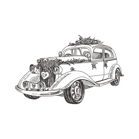 Illustration for Beautiful vector hand drawn a wedding retro car Illustration. Detailed retro style image. Vintage sketch element for labels, packaging and cards design. Modern background. - Royalty Free Image