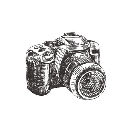 Illustration pour Beautiful vector hand drawn photo camera Illustration. Detailed retro style image. Vintage sketch element for labels, packaging and cards design. Modern background. - image libre de droit