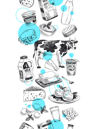 Illustration for Beautiful vector hand drawn dairy products  Illustration. Detailed retro style background. Vintage sketch repeated background. Seamless border. Elements collection for design. - Royalty Free Image