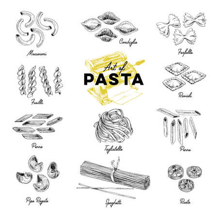 Ilustración de Beautiful vector hand drawn pasta Illustrations. Detailed retro style images. Vintage sketch elements for labels, packaging and cards design. Modern background. - Imagen libre de derechos