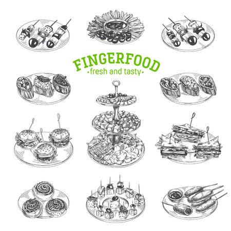 Ilustración de Beautiful vector hand drawn finger food Illustrations. Detailed retro style images. Vintage sketch elements for labels, packaging and cards design. Modern background. - Imagen libre de derechos