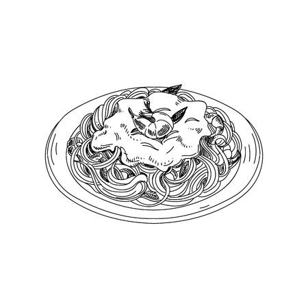 Illustration pour Vector hand drawn spaghetti with sauce and shrimps. - image libre de droit