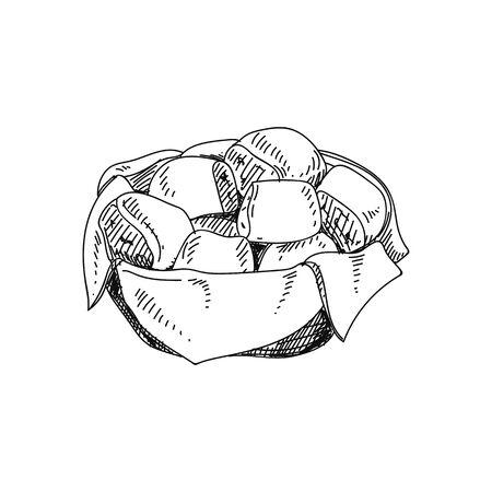 Illustration pour Dinner rolls hand drawn vector illustration - image libre de droit