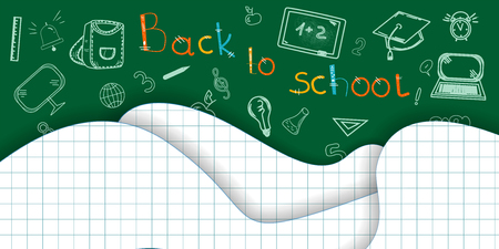 Illustration for Back to school background Paper cut pages Icon Pencils letters Alarm clock Briefcase Chalkboard Notebook Vector illustration - Royalty Free Image