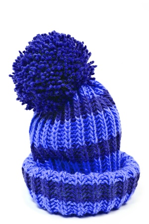 Foto de blue knitted woolen hat isolated on white background - Imagen libre de derechos