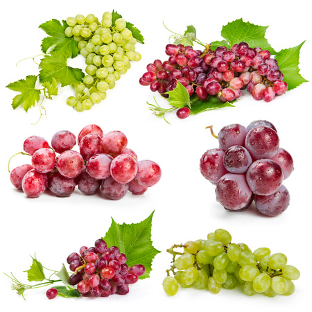 Photo for Set of red and green grapes isolated on white background - Royalty Free Image