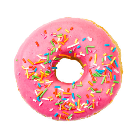 Photo for Donut with colorful sprinkles isolated on white background. Top view. - Royalty Free Image