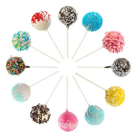 Foto de Set of various cake pops isolated on white background - Imagen libre de derechos