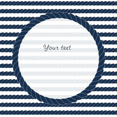 Illustration pour Navy blue and white circle rope frame background for your text or image - image libre de droit