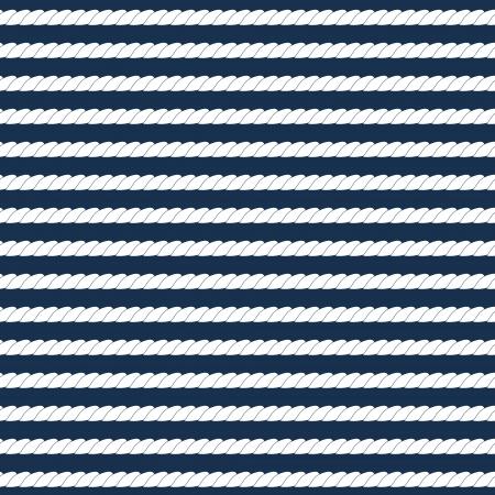Illustration pour White navy rope stripes on dark blue seamless pattern, vector - image libre de droit