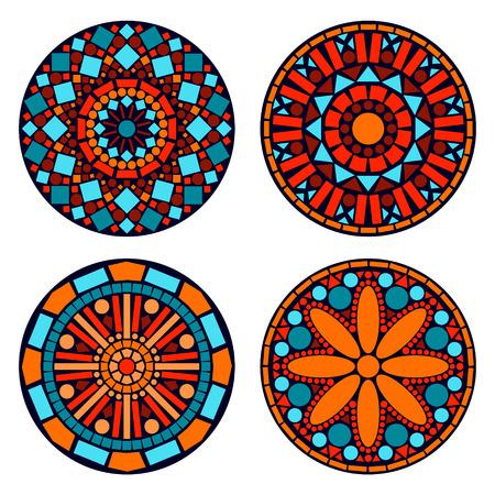 Illustration pour Colorful circle floral mandalas set in blue red and orange, vector - image libre de droit