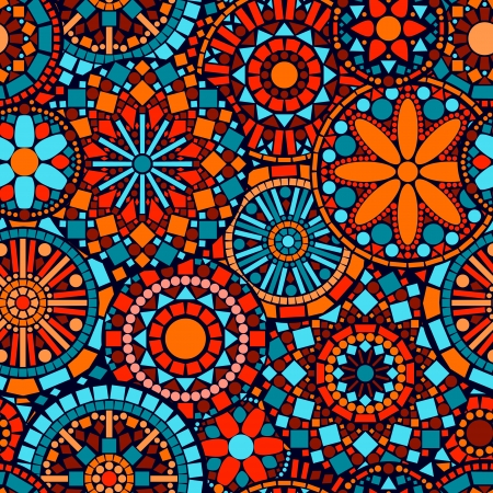 Photo for Colorful circle flower mandalas seamless pattern in blue red and orange, vector - Royalty Free Image