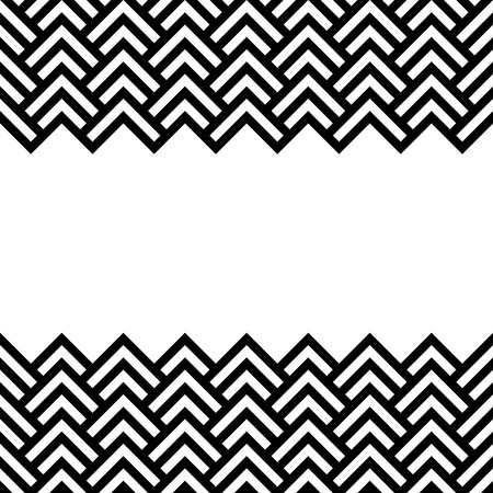 Ilustración de Black and white chevron geometric horizontal border frame background - Imagen libre de derechos
