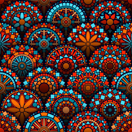Illustration for Colorful circle flower mandalas seamless pattern in blue red and orange, vector - Royalty Free Image