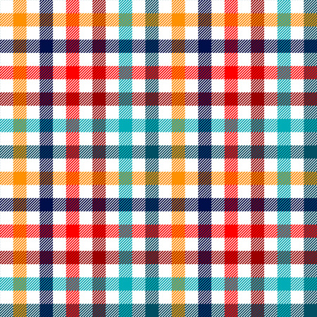 Illustration for Colorful checkered gingham plaid fabric seamless pattern in blue white red and yellow, vector print - Royalty Free Image