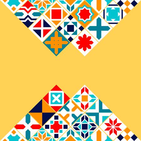 Illustration pour Colorful geometric tiles background, vector card template - image libre de droit