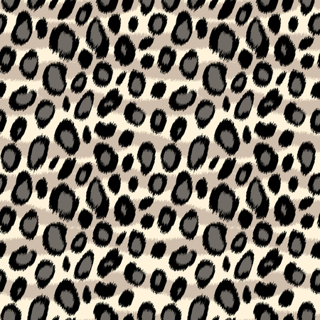 Illustration pour Leopard print animal print seamless pattern in black and white, vector background - image libre de droit