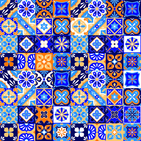 Illustration for Mexican stylized talavera tiles seamless pattern in blue orange and white, vector background - Royalty Free Image