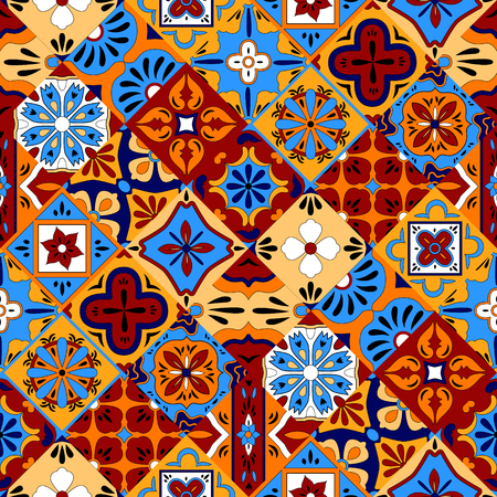Illustration for Mexican stylized talavera tiles seamless pattern in blue red and yellow, vector background - Royalty Free Image