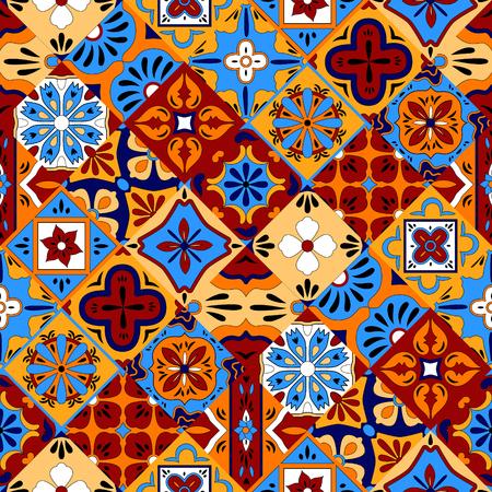 Ilustración de Mexican stylized talavera tiles seamless pattern in blue red and yellow, vector background - Imagen libre de derechos