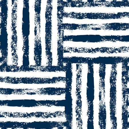Illustration pour Blue and white striped woven grunge seamless pattern, background - image libre de droit