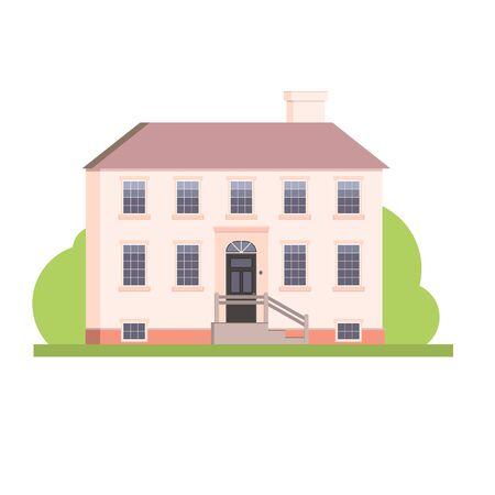 Illustration pour Flat style big pink house real estate illustration, vector - image libre de droit