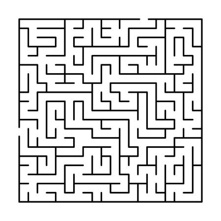 Ilustración de Black and white simple maze puzzle, vector illustration - Imagen libre de derechos