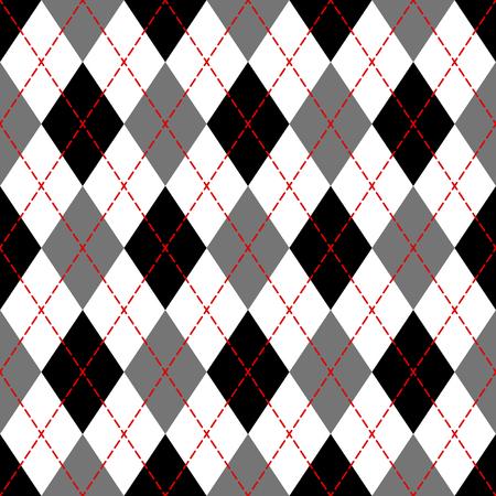 Illustration pour Black and white argyle geometric checkered seamless pattern, vector illustration - image libre de droit