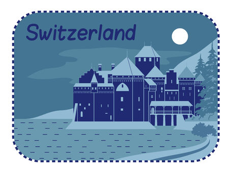Vector illustration with Medieval Chillon Castle in Switzerland