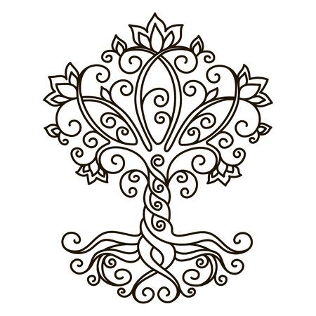 Illustration for decor element, vector, black and white illustration, mandala, tree - Royalty Free Image