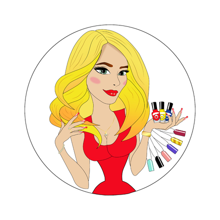 Beauty Girl Face with Colorful Nail polish.