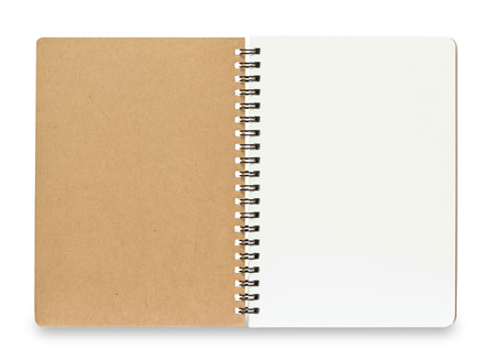 Foto de Blank Spiral Notebook isolated on a White Background with clipping path - Imagen libre de derechos