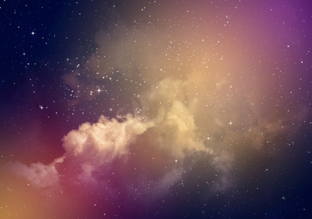 Photo for Space of night sky with cloud and stars. - Royalty Free Image