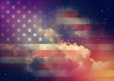 Foto de American flag with night sky background. - Imagen libre de derechos