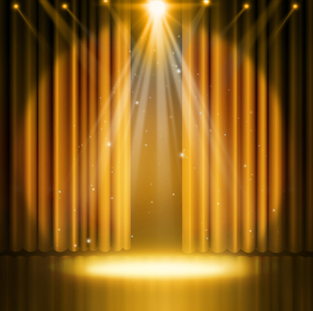 Photo for Gold curtains on theater with spotlight. - Royalty Free Image